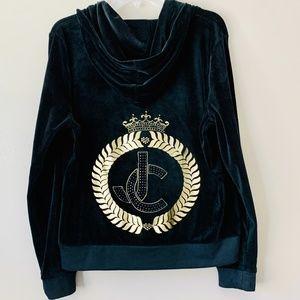 Juicy Couture Black Velour Zip Up Hoodie XL